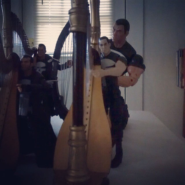 He plays the harp in the dark (almost).