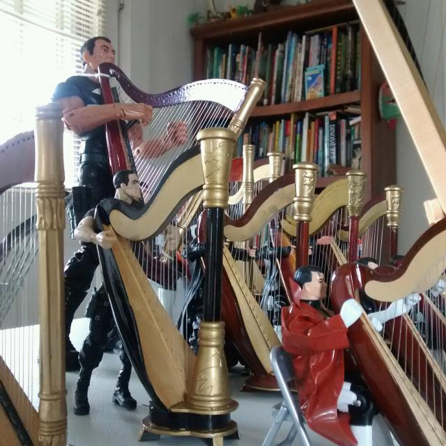 5 Six inch harps all in a row.