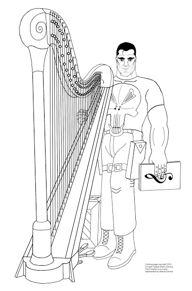 Punisher and his harp coloring page.