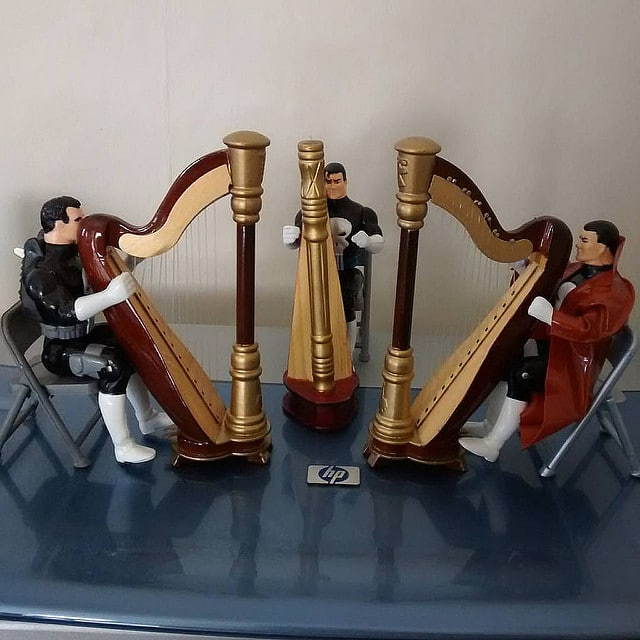 Three Toy Biz Punishers in a Harp Practice Session.