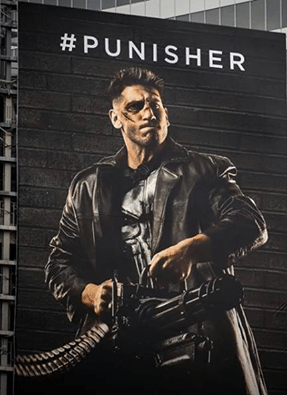 Clearer image of The Punisher billboard.