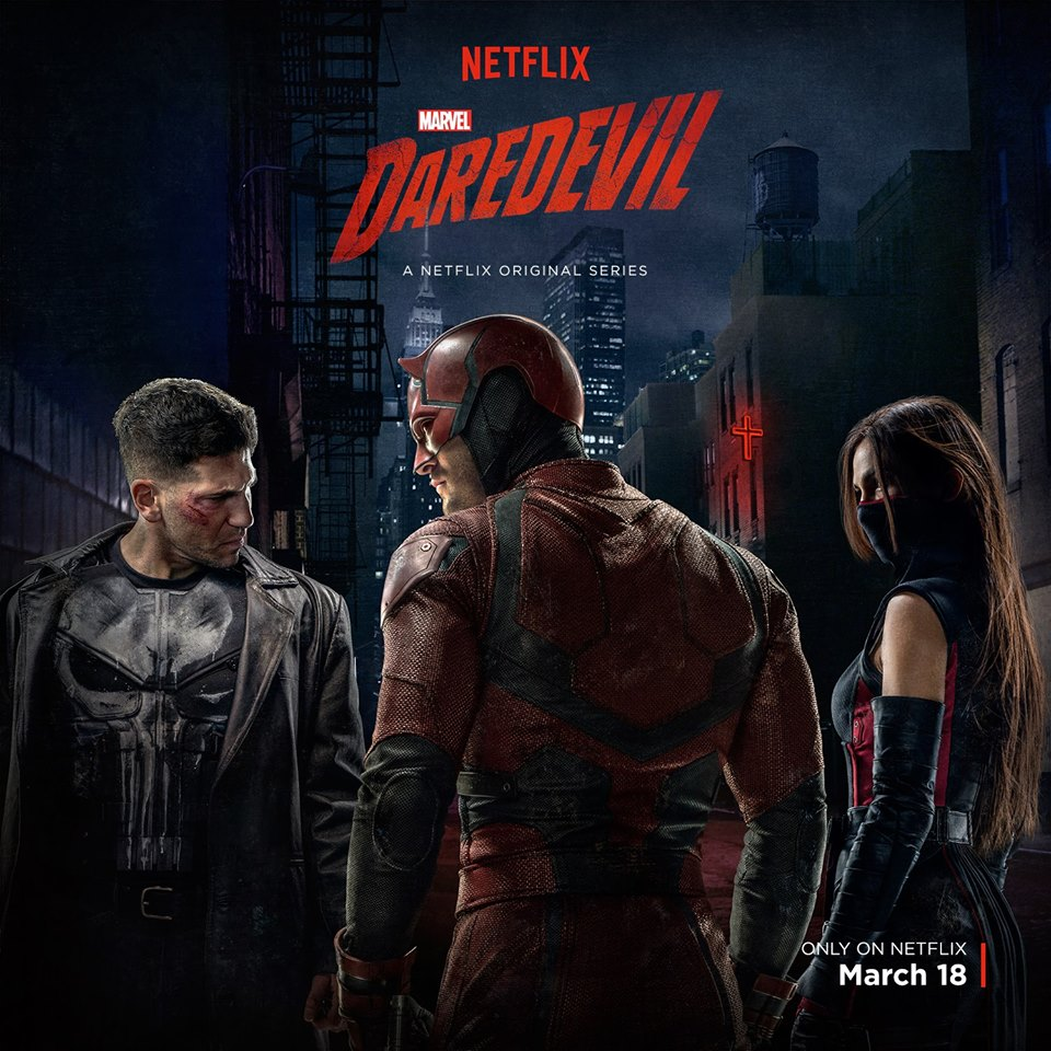 Daredevil, Elektra, and The Punisher and his skull emblem in full view!!