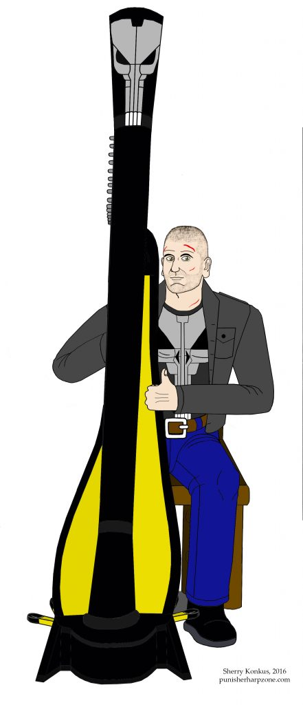 Jon Bernthal as The Punisher playing his harp (Modified with the skull on his shirt)