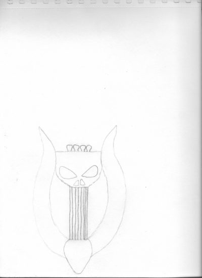 Punisher's Lyre early sketch drawing.