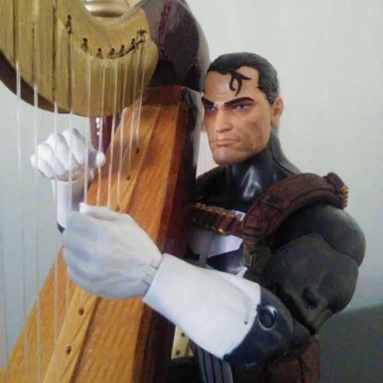 Jim Lee's Punisher trying out the harp.