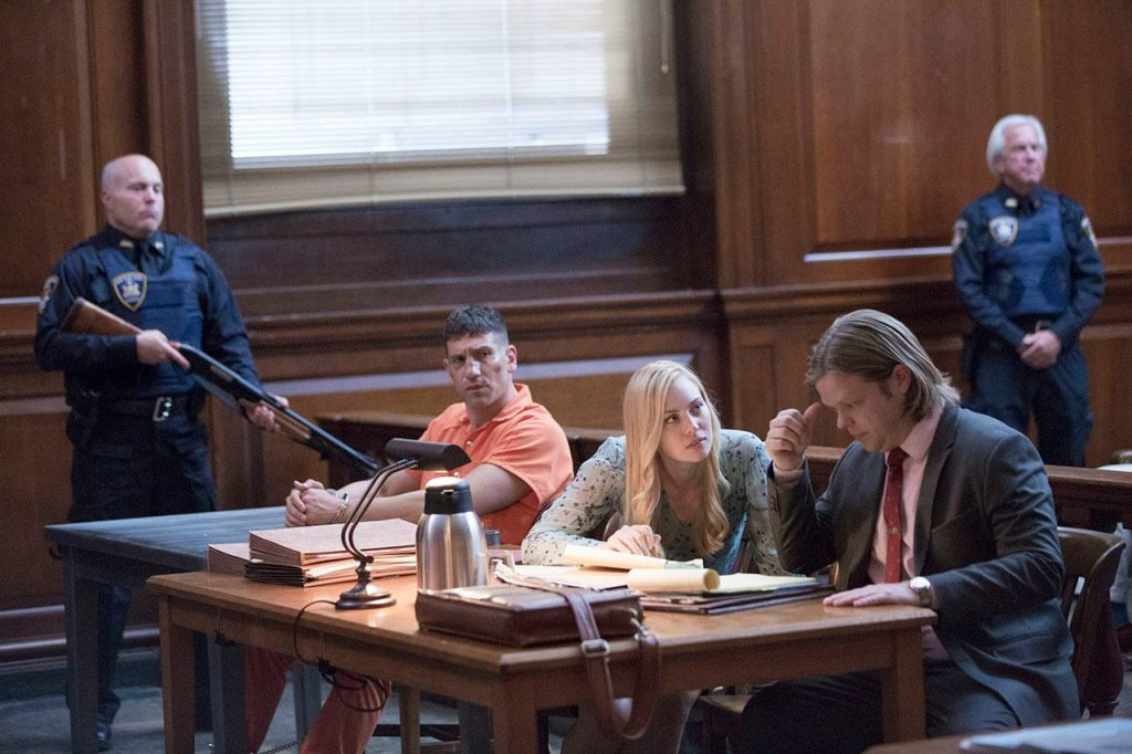Frank, Karen, and Foggy in the courtroom.