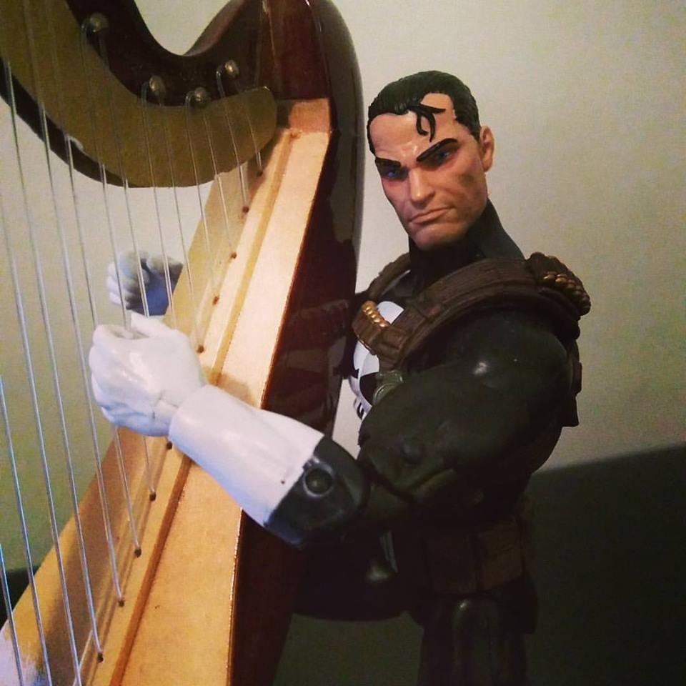 Back to Harp Practice. Frank needs to catch up on his harp studies.