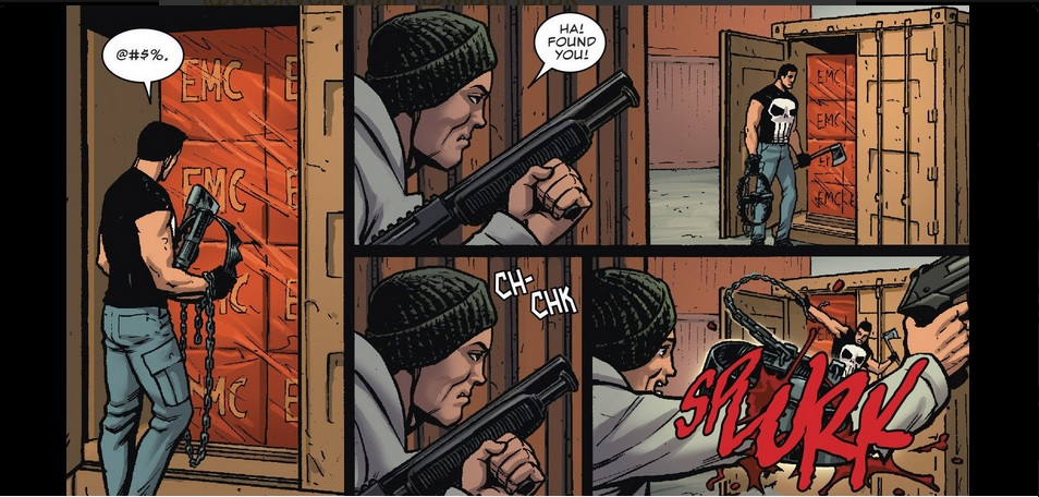 Punisher lashes out his bear trap.