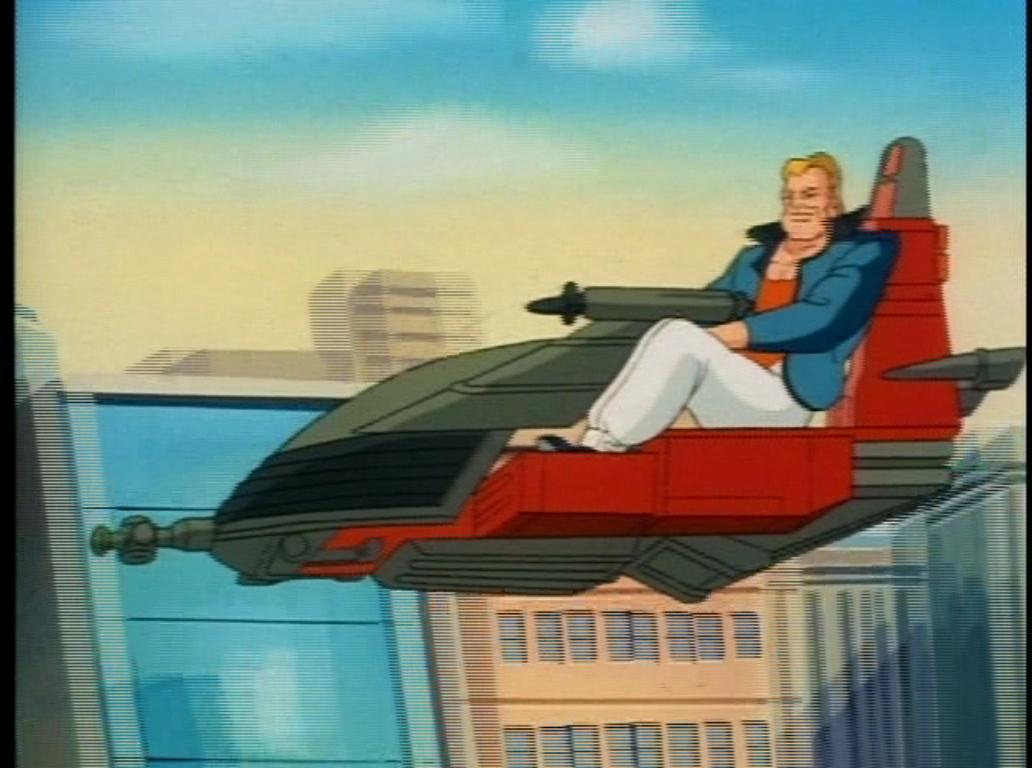 Berserko flying in his air speeder.