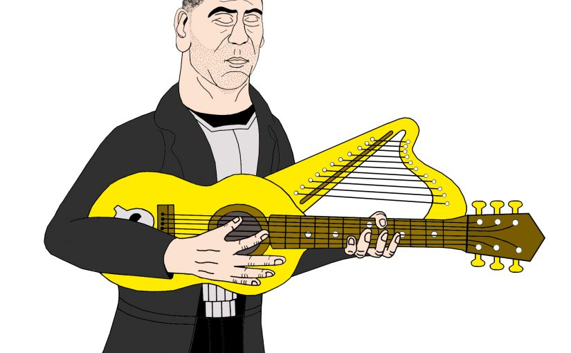 NEW PUNISHER HARP ART: The Punisher's Harp Guitar!