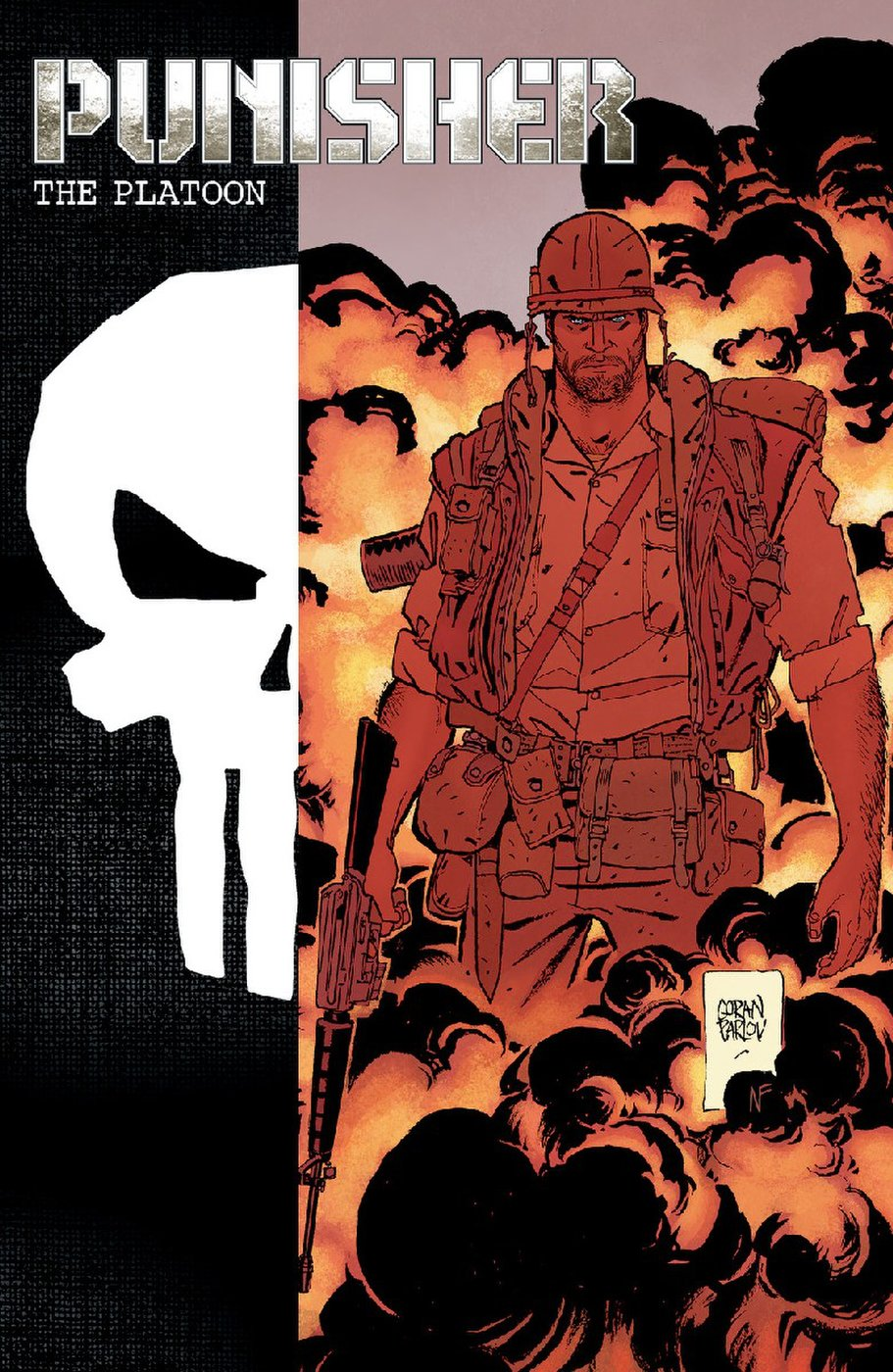 Main cover to Punisher Max: The Platoon by Goran Parlov.