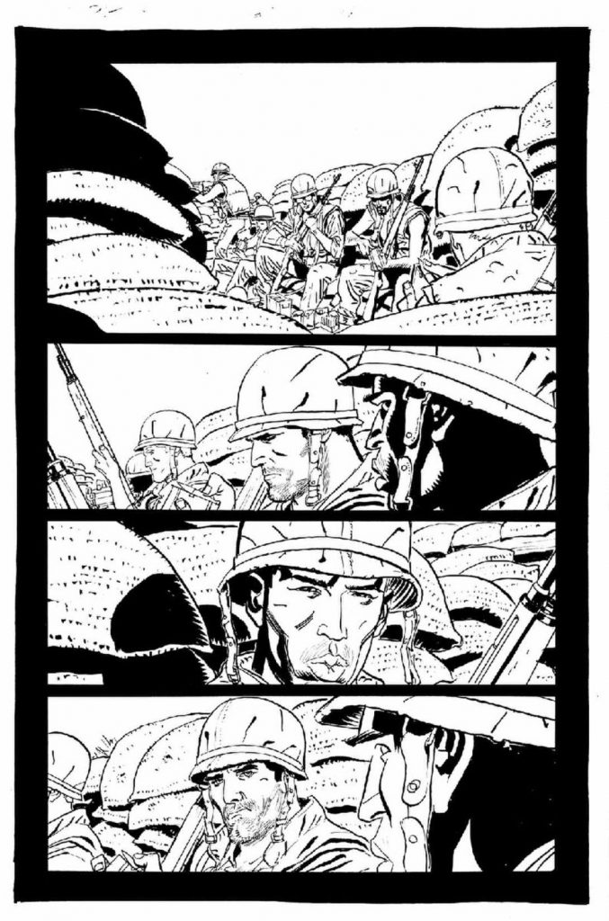 Comic sample of Punisher Max The Platoon by Goran Parlov