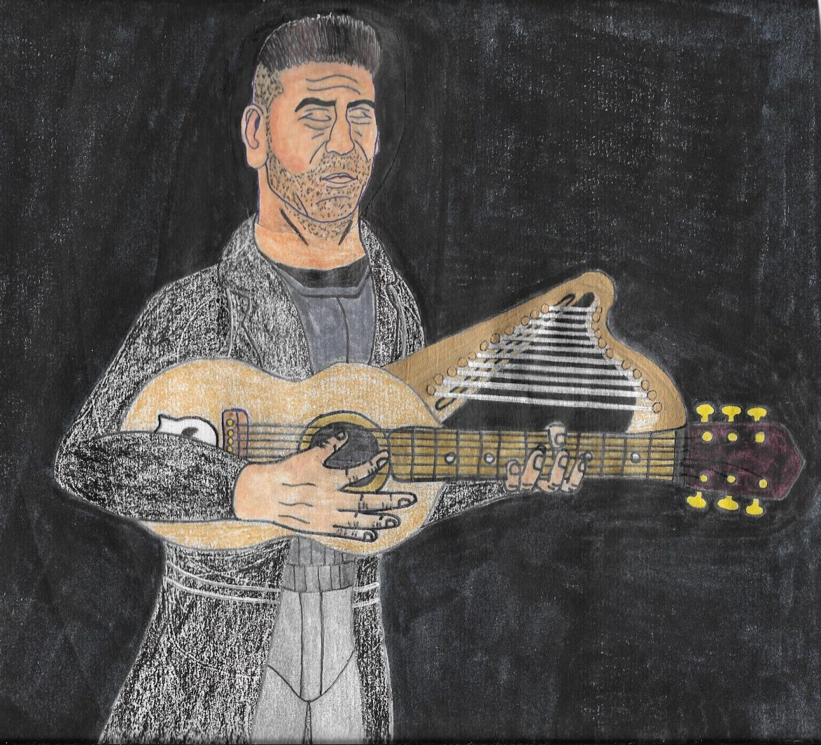 The Old fashioned version of Jon Bernthal's Punisher and his harp guitar.