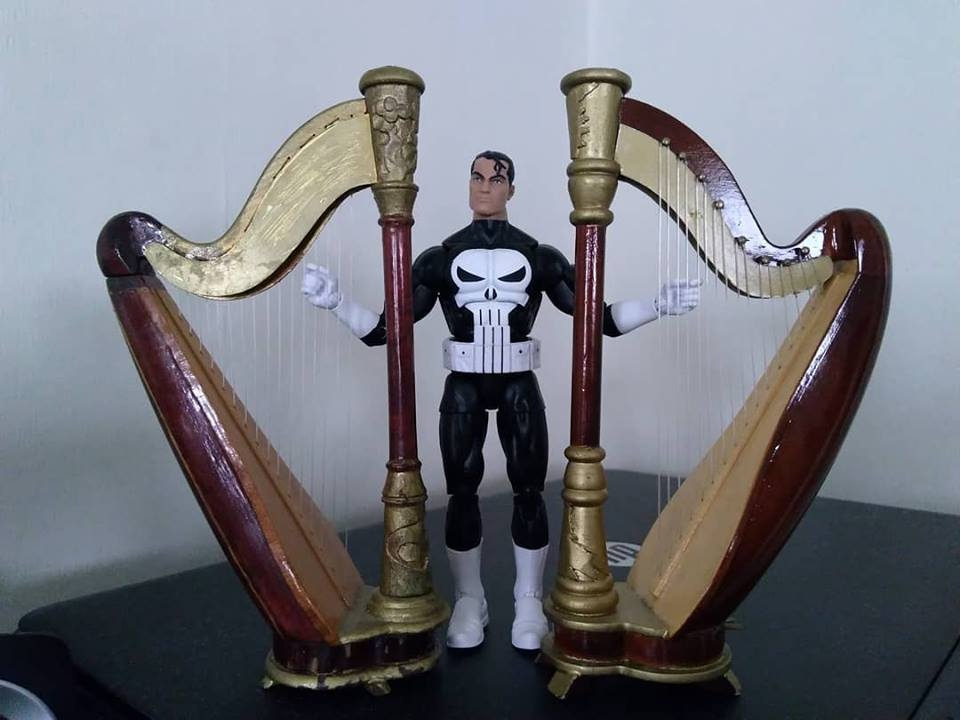 Just like my latest Punisher Harp Art. Frank doing a double performance on two wonderful concert harps.